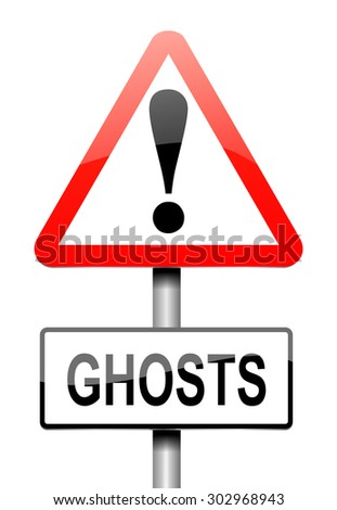 Illustration depicting a sign with a ghost concept.