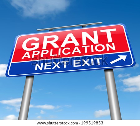 Illustration depicting a sign with a grants concept.