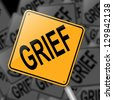 Illustration depicting a sign with a grief concept. - stock photo