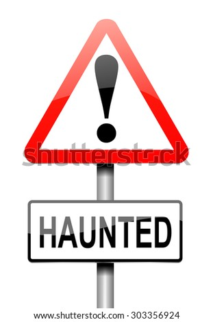 Illustration depicting a sign with a haunted concept.