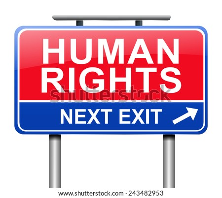 Illustration depicting a sign with a Human Rights concept.