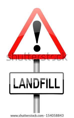 Illustration depicting a sign with a landfill concept.