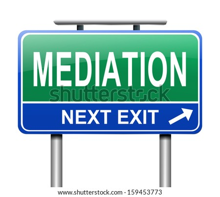 Illustration depicting a sign with a mediation concept.