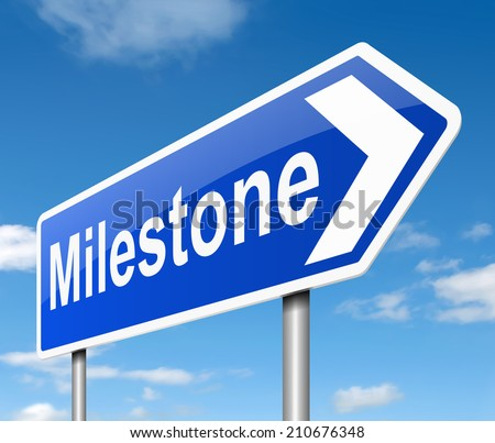 Illustration depicting a sign with a milestone concept. - stock photo