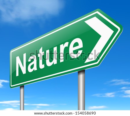 Illustration depicting a sign with a nature concept.
