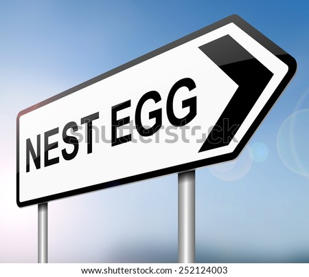 Illustration depicting a sign with a nest egg concept.