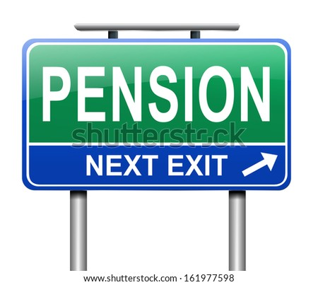 Illustration depicting a sign with a pension concept. - stock photo