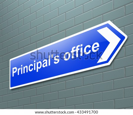 Illustration depicting a sign with a principal's office concept. - stock photo