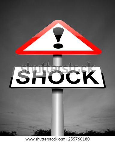 Illustration depicting a sign with a shock concept. - stock photo