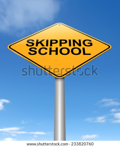 Illustration depicting a sign with a skipping school concept.