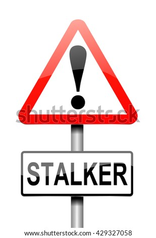 Illustration depicting a sign with a stalker concept.