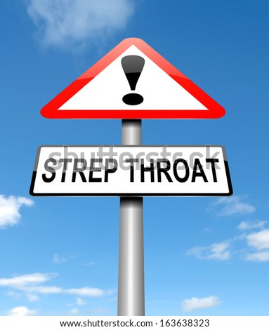 Illustration depicting a sign with a Strep Throat concept.