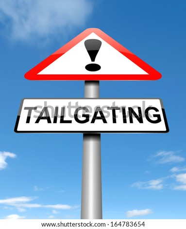 Illustration depicting a sign with a tailgating concept.