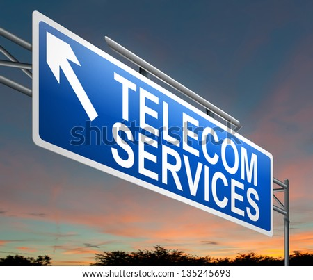 Illustration depicting a sign with a telecom services concept.
