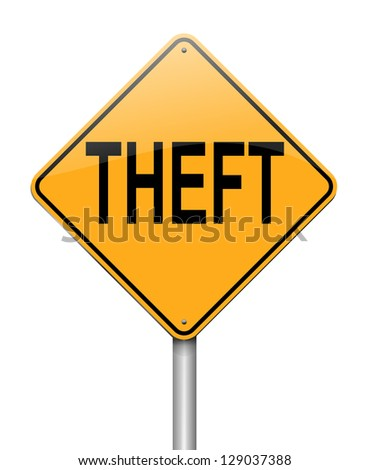 Illustration depicting a sign with a theft concept.