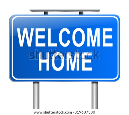 Illustration depicting a sign with a welcome home concept. - stock photo