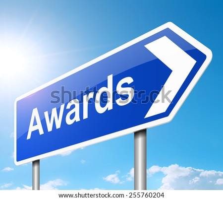 Illustration depicting a sign with an awards concept. - stock photo