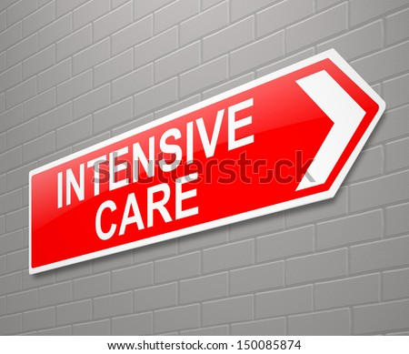 Illustration depicting a sign with an Intensive Care concept. - stock photo