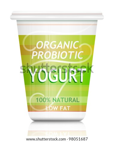 Illustration depicting a single organic probiotic yogurt container arranged over white.