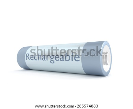 Illustration depicting a single rechargeable battery over white.