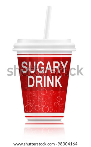 Illustration  depicting a single red fast food drink containers with a sugar concept. Arranged over white.