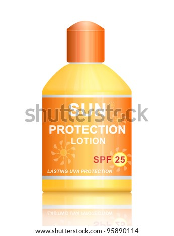 Illustration depicting a single uva sun SPF 25 protection lotion bottle arranged over white. - stock photo