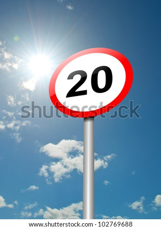 Illustration depicting a speed limit road sign against blue sky and sunlight background. - stock photo