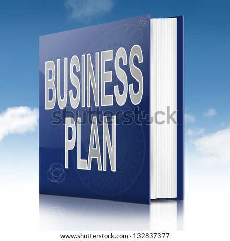 Illustration depicting a text book with a Business Plan concept title. Sky background.