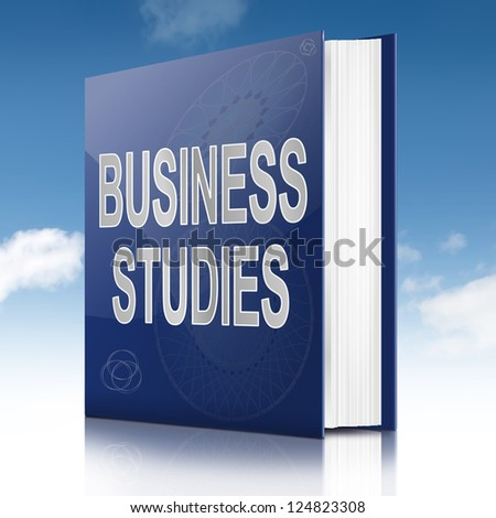 Illustration depicting a text book with a business studies concept title. Sky background. - stock photo