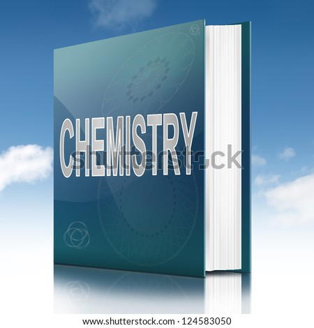 Illustration depicting a text book with a Chemistry title. White background.