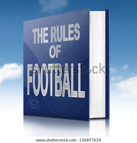 Illustration depicting a text book with a football rules concept title. Sky background.