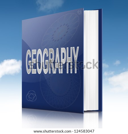 Illustration depicting a text book with a geography concept title. Sky background.