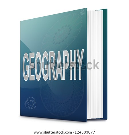 Illustration depicting a text book with a geography concept title. White background.
