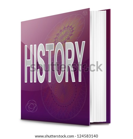 Illustration depicting a text book with a history concept title. White background. - stock photo