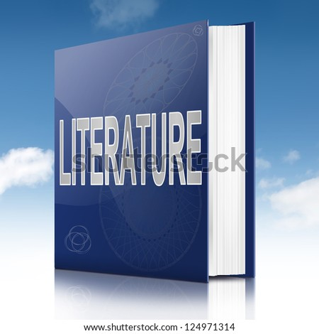 Illustration depicting a text book with a literature concept title. Sky background. - stock photo