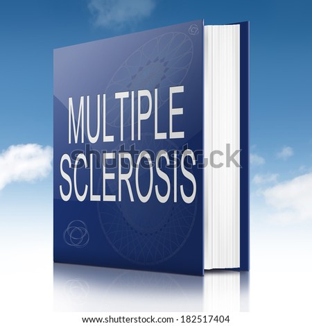 Illustration depicting a text book with a Multiple Sclerosis concept title. Sky background.