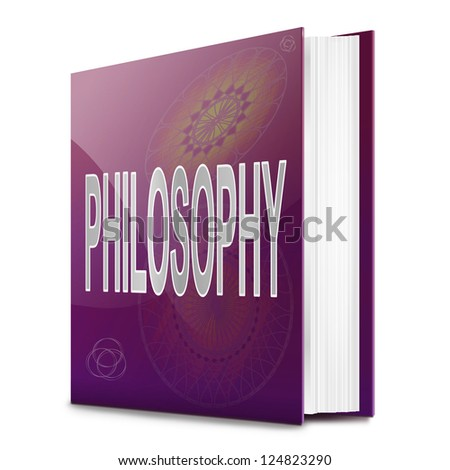 Illustration depicting a text book with a Philosophy concept title. White background. - stock photo