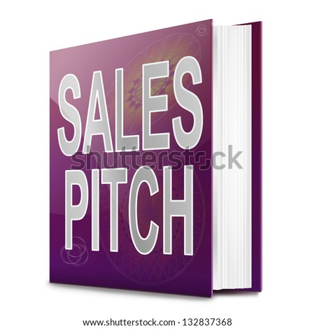Illustration depicting a text book with a sales pitch concept title. White background.