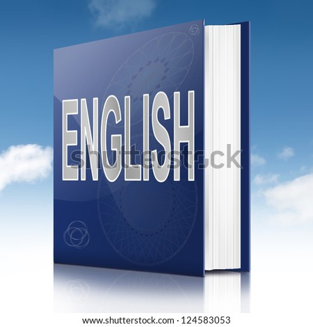 Illustration depicting a text book with an English concept title. White background.