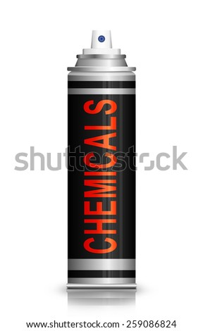 Illustration depicting an aerosol can with a chemicals concept. - stock photo