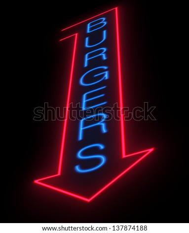 Illustration depicting an illuminated neon burgers sign. - stock photo