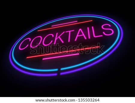 Illustration depicting an illuminated neon cocktails sign.