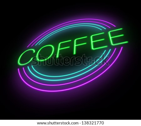 Illustration depicting an illuminated neon coffee sign. - stock photo