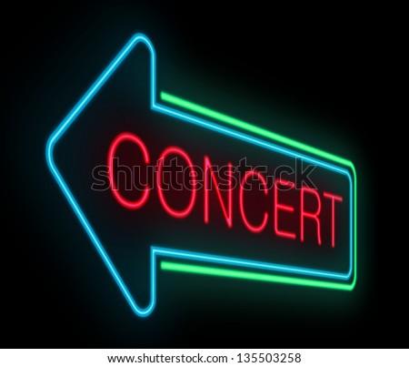 Illustration depicting an illuminated neon concert sign. - stock photo
