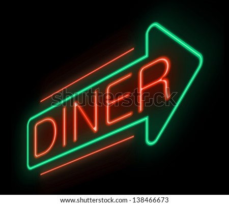 Illustration depicting an illuminated neon diner sign.