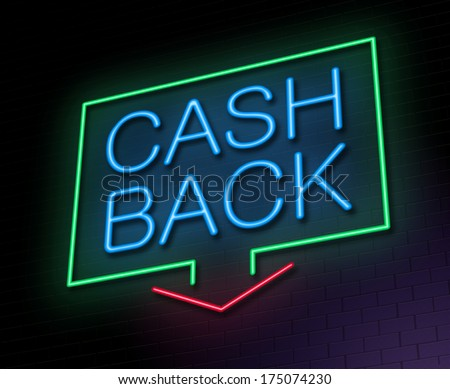 Illustration depicting an illuminated neon sign with a cashback concept. - stock photo
