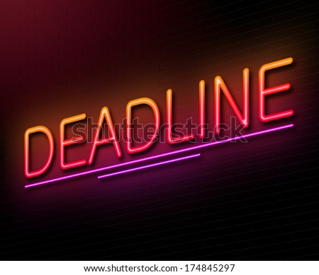 Illustration depicting an illuminated neon sign with a deadline concept.