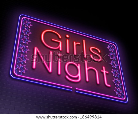 Illustration depicting an illuminated neon sign with a girls night concept. - stock photo