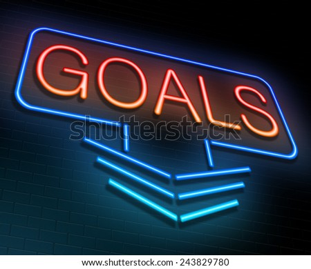 Illustration depicting an illuminated neon sign with a goals concept. - stock photo