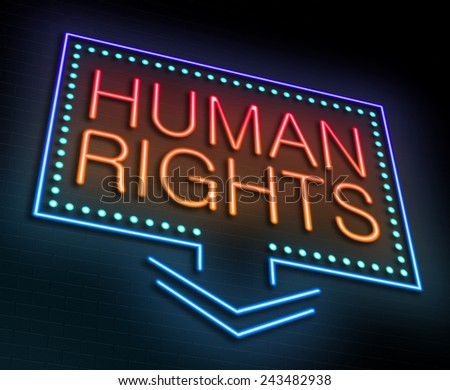 Illustration depicting an illuminated neon sign with a Human Rights concept. - stock photo